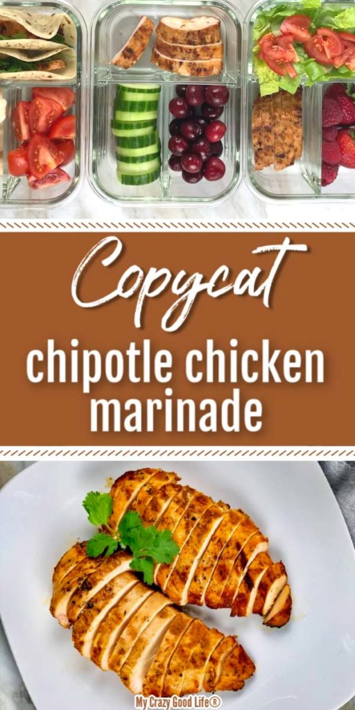 image of chipotle chicken and meal prep containers with text for Pinterest