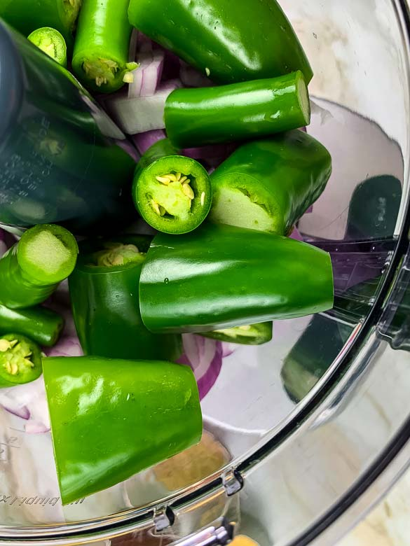 peppers and onions in food processor