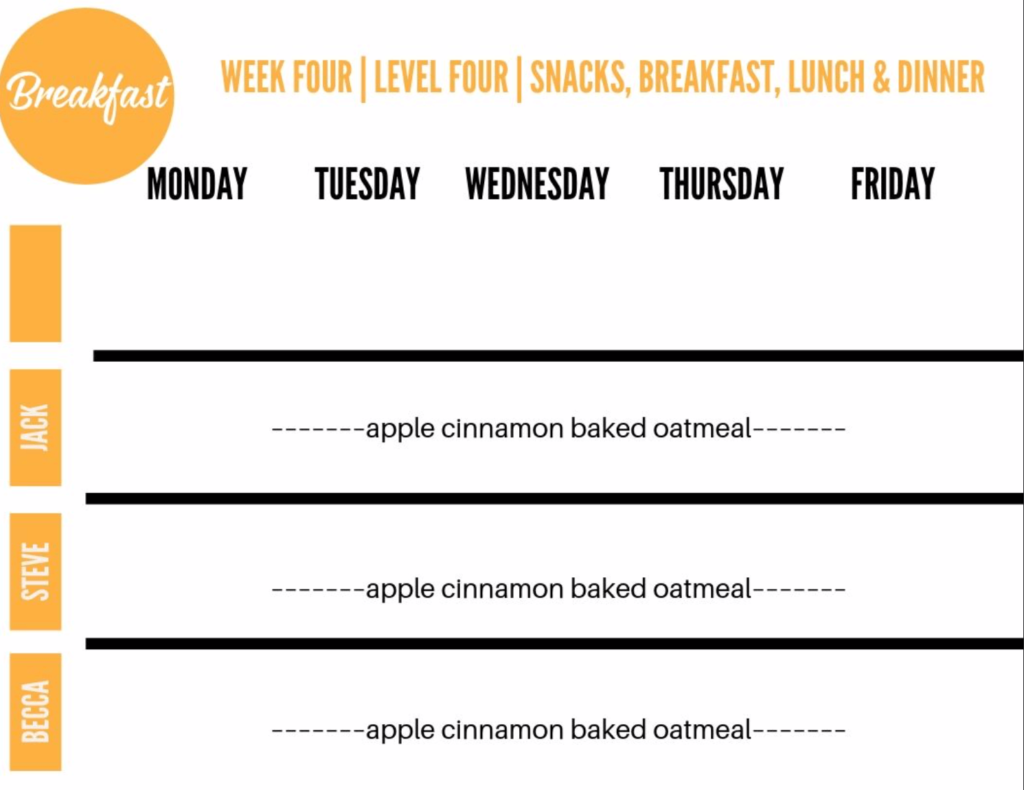 breakfast meal plan sheet.
