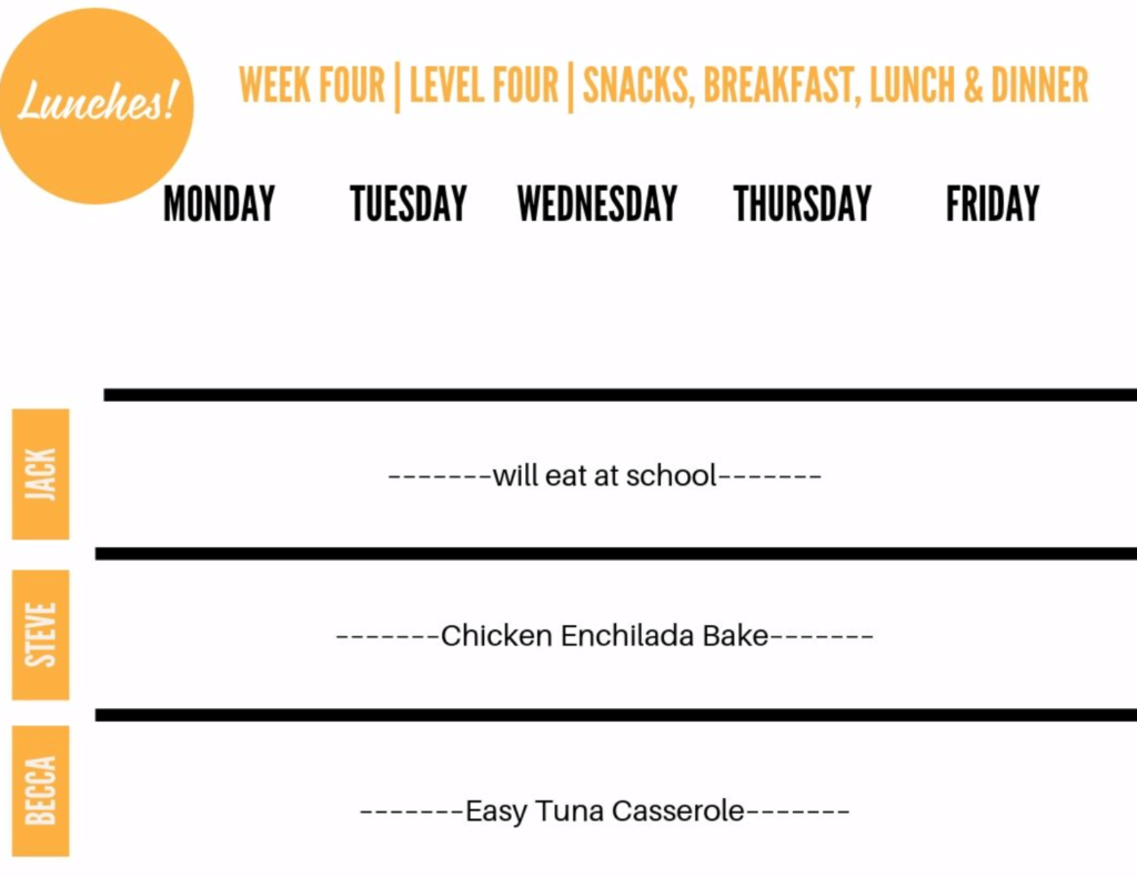 lunches filled in meal plan printable.