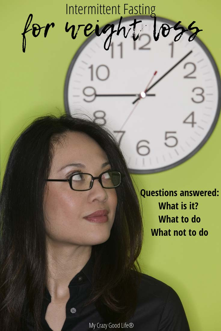 woman looking up at clock, image with text