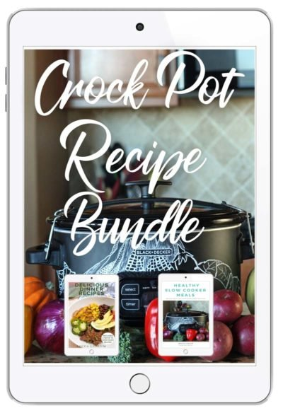 image of crock pot with chalk drawings and recipe bundle
