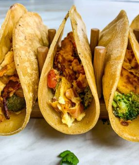 side view of healthy breakfast tacos