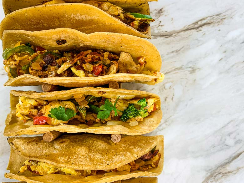 top down image of several breakfast tacos