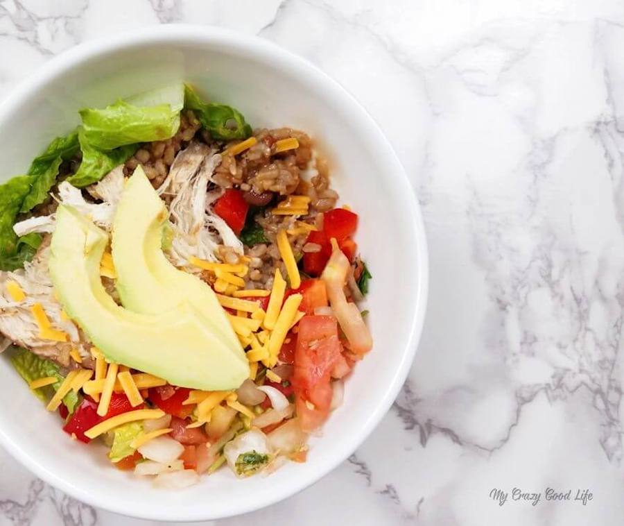 Chicken burrito bowls made in the instant pot