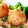Teriyaki meatballs and rice with broccoli