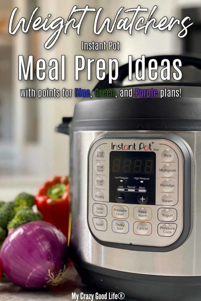close up of Instant Pot and vegetables with text for pinterest
