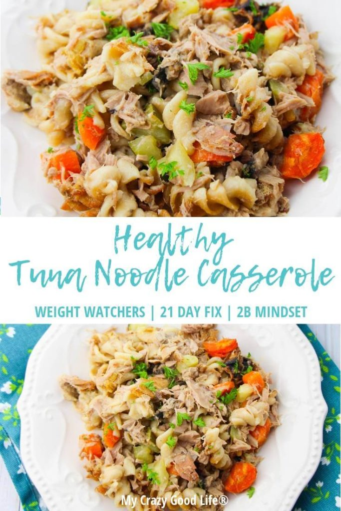 Tuna casserole recipe pin showing the meal and the title in the middle.