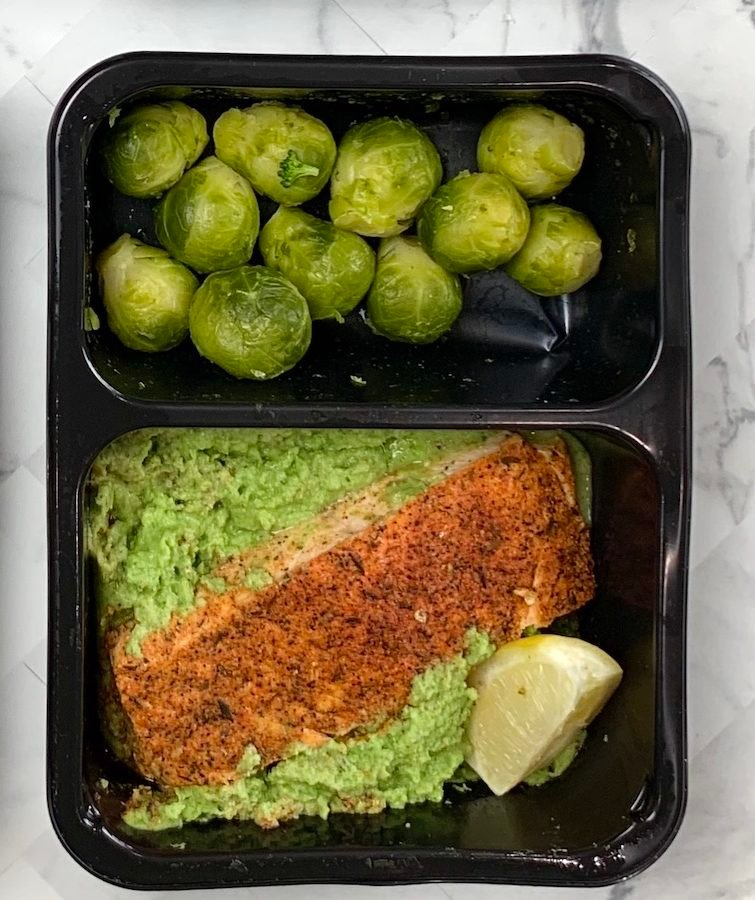 Blackened Salmon, Spinach Cauliflower Puree, Brussels Sprouts | 19 g Carbs