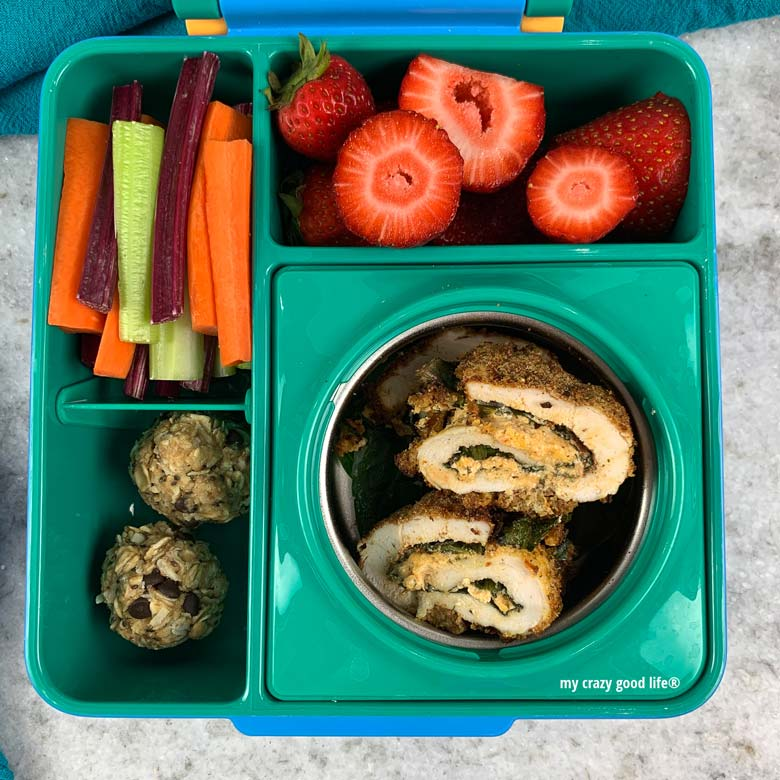 buffalo chicken, fruit, and veggies in bento box