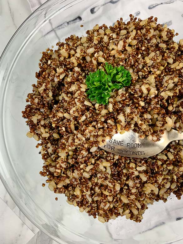 rice and quinoa in clear bowl