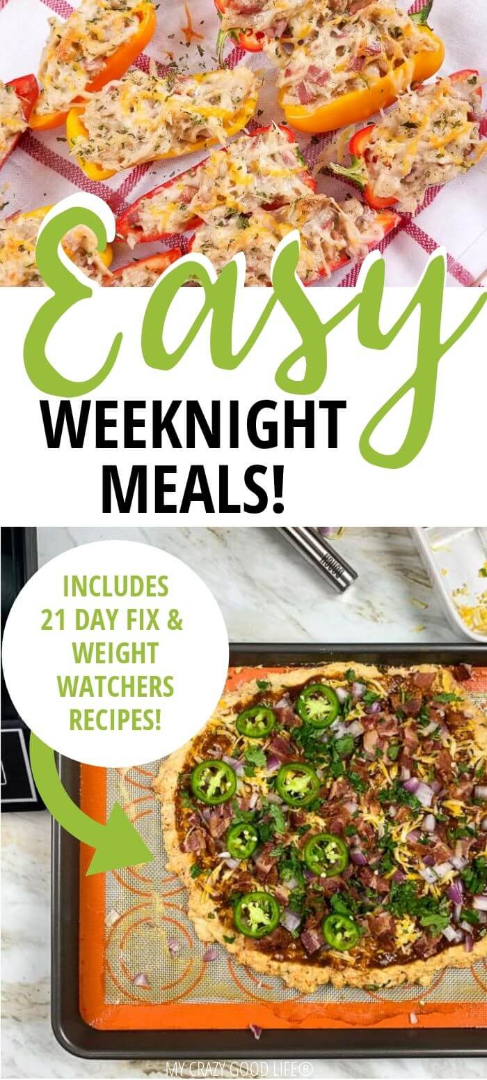 Pin showing easy weeknight meals and title