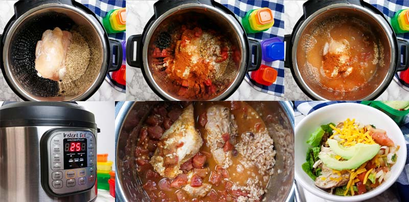 collage of images for how to make instant pot burrito bowls