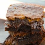 close up of espresso brownies