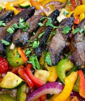 close up of mushroom fajitas