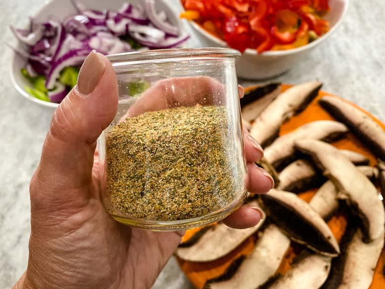 homemade seasoning in a glass jar
