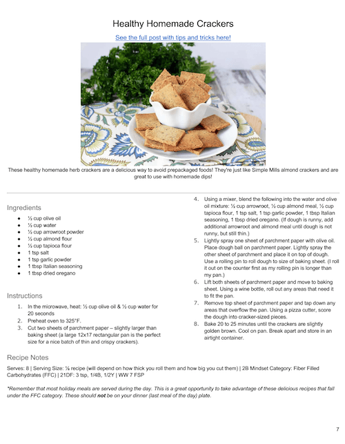 Sample page from the 2B Mindset Holiday Recipes eBook.