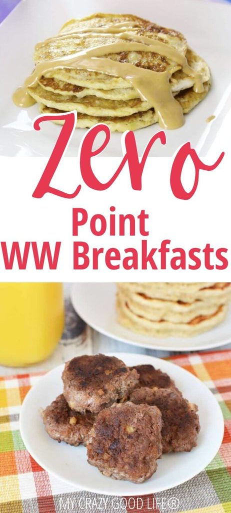 Pin showing breakfast recipes for WW with title in the middle.