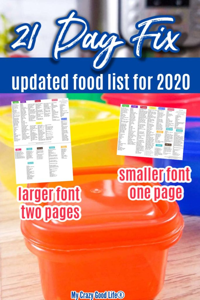 image of 21 day fix containers and food lists with text for pinterest