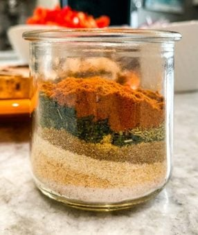 homemade fajita seasoning in a small glass jar