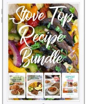 Image of mushroom fajita on ipad cover with text Stove top recipe bundle