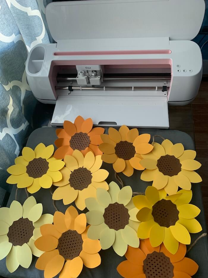 Top down view of the completed sunflowers and cricut maker