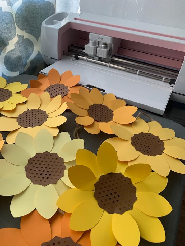Finished Cricut Sunflowers