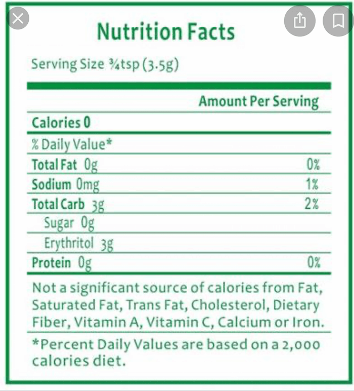 hidden ingredients in stevia blends nutritional label showing that