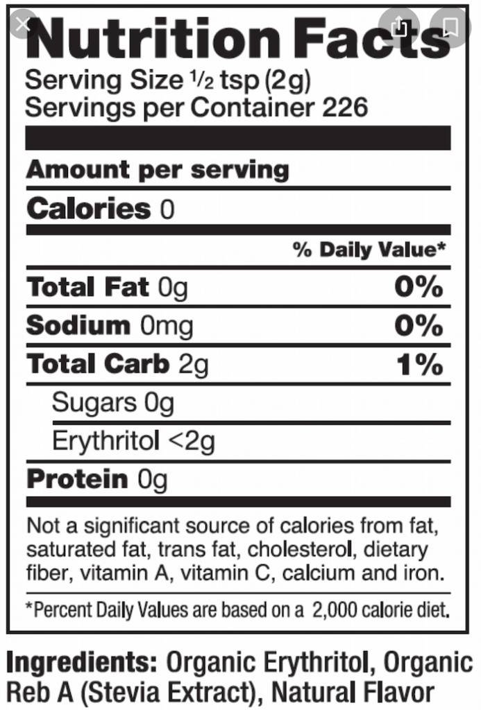 artificial sweeteners included in stevia blends, nutritional label showing that