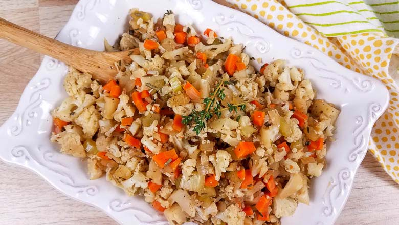 top down view of stuffing on a white dish