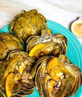 Finished artichokes in the Ninja Foodi