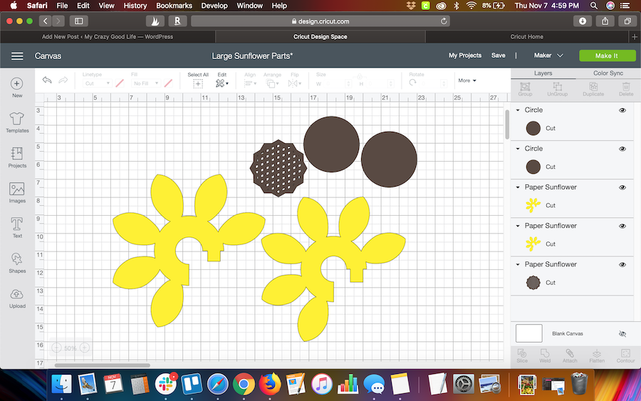 Design Space Screen for sunflower SVG