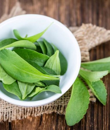 image of stevia leaves in a bowl.