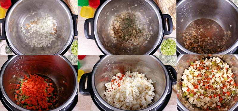 collage showing the steps to making this cauliflower stuffing