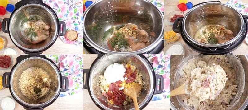 Collage image of instructions for how to make casserole