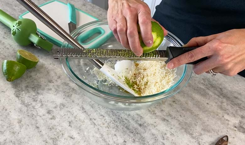 zest your lime over a bowl