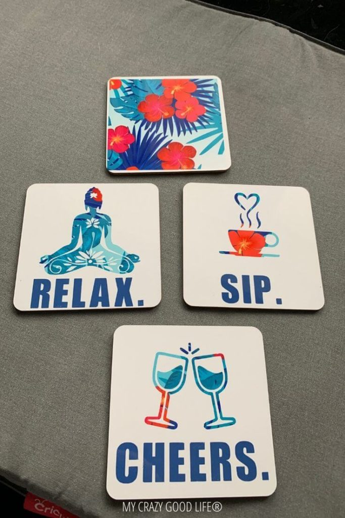 The finished diy drink coasters with infusible ink are gorgeous!