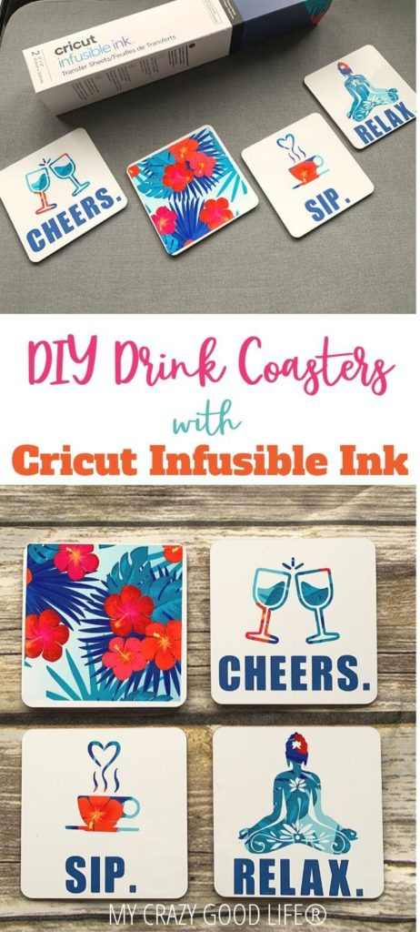 Pin for diy drink coasters with Cricut infusible ink