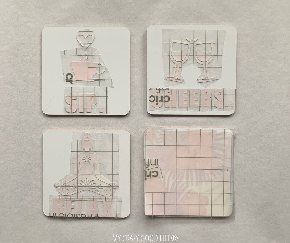 The images are attached to the coasters before we press them with the Cricut EasyPress2