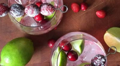two cranberry margaritas top down view