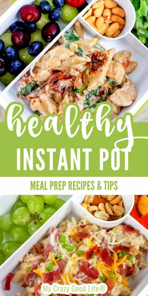 pin with two images of recipes in meal prep containers