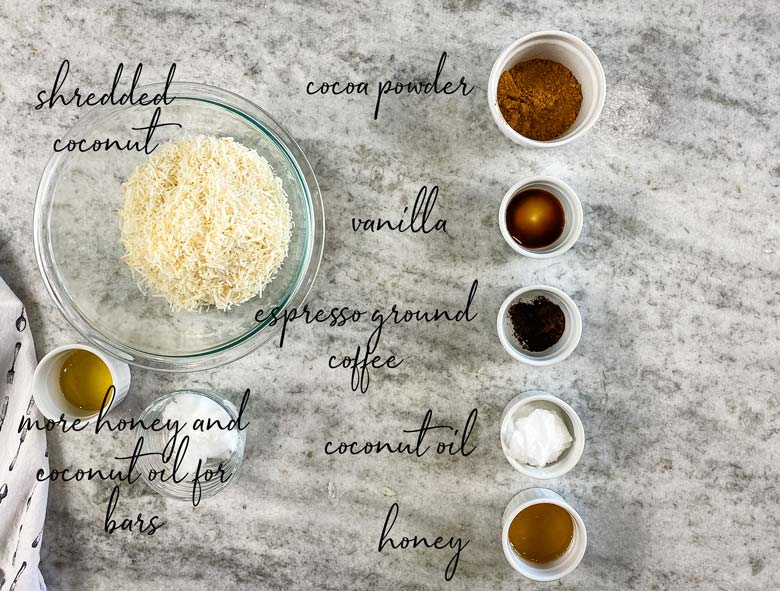 top down of ingredients with labels