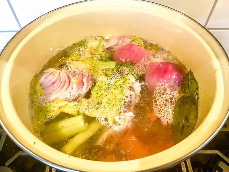 turkey stock simmering on stove
