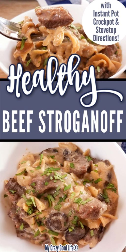 Collage image of healthy beef stroganoff and text for Pinterest
