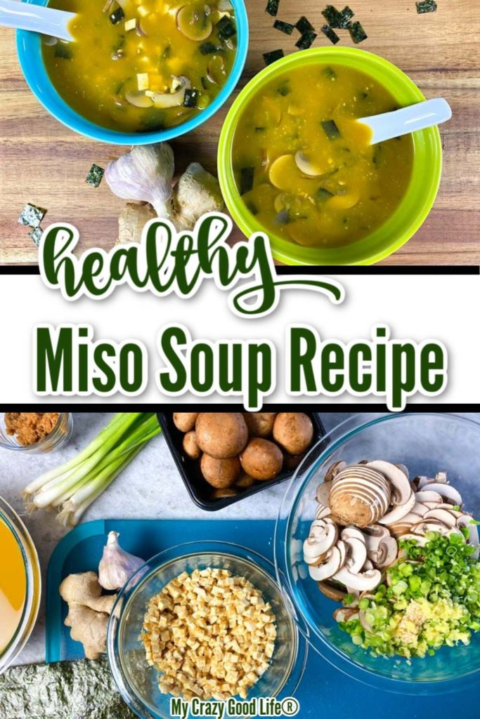 healthy Miso Soup image with text for pinterest