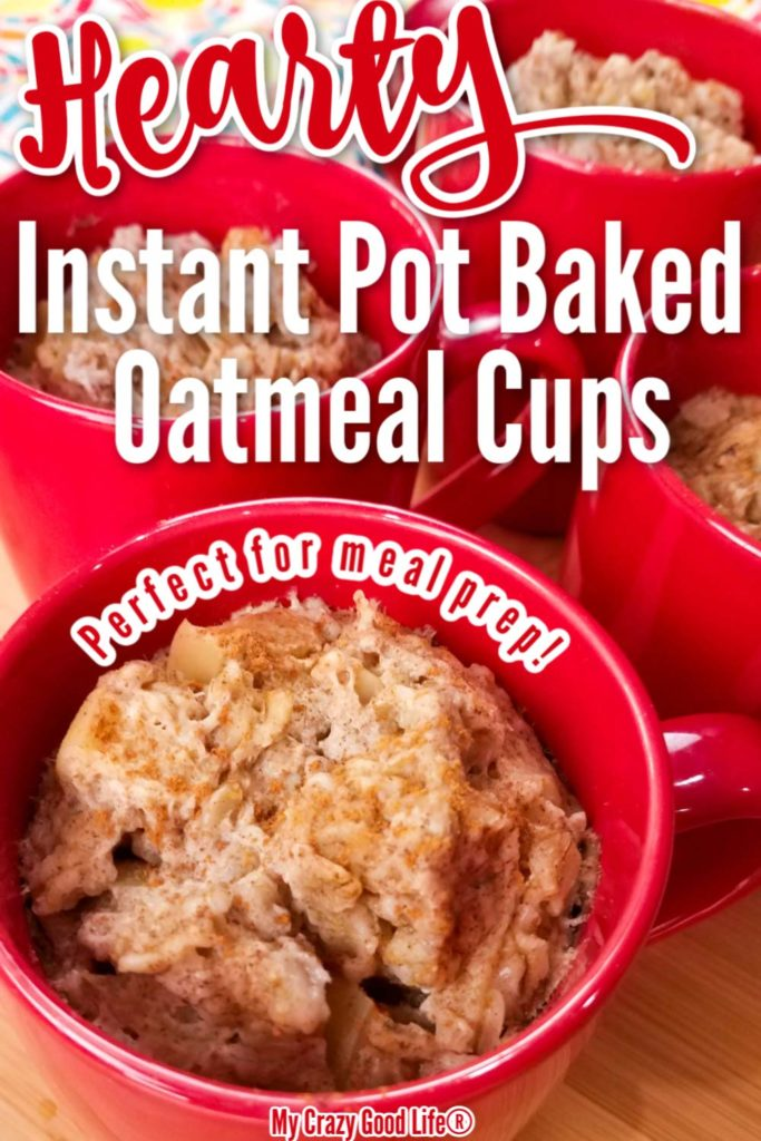 image of oatmeal in a red mug with text for pinterest
