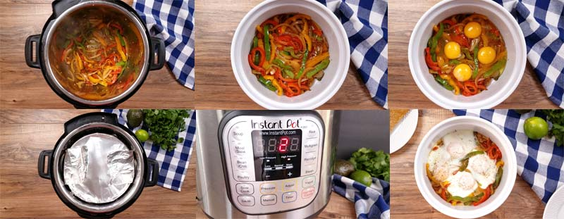 collage image showing how to cook this recipe in the pressure cooker