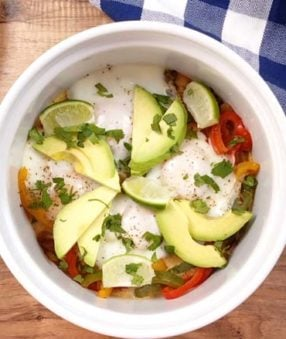 cooked fajita casserole with avocado