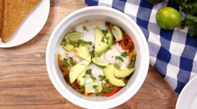 cooked fajita casserole with avocado