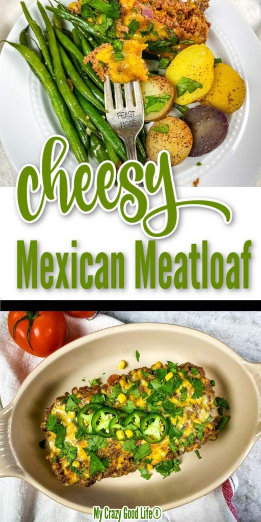 meatloaf with cheese and jalapenos. Image with text for pinterest.